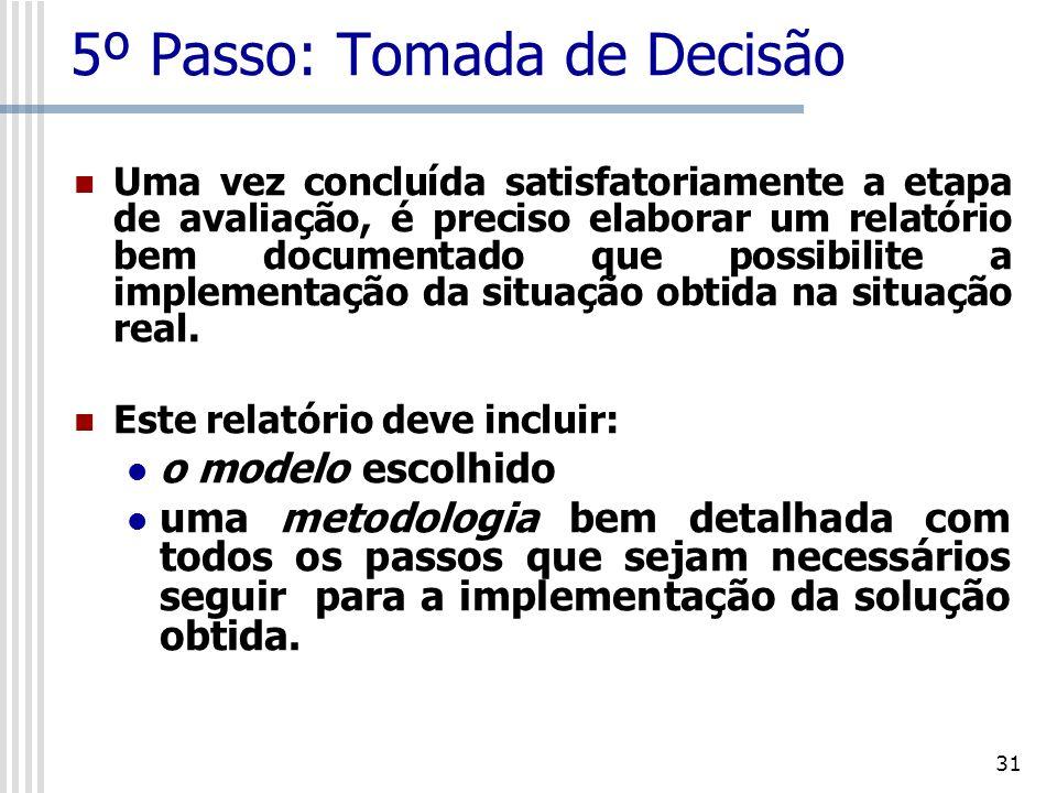 32 6º Passo: Implementação A apresentação da solução deve ser feita à administração da empresa evitando-se o uso da linguagem técnica do modelo.