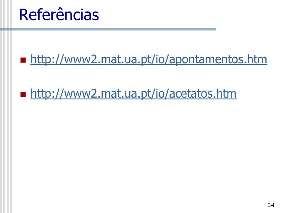 34 Referências http://www2.mat.ua.pt/io/apontamentos.htm http://www2.mat.ua.pt/io/acetatos.htm