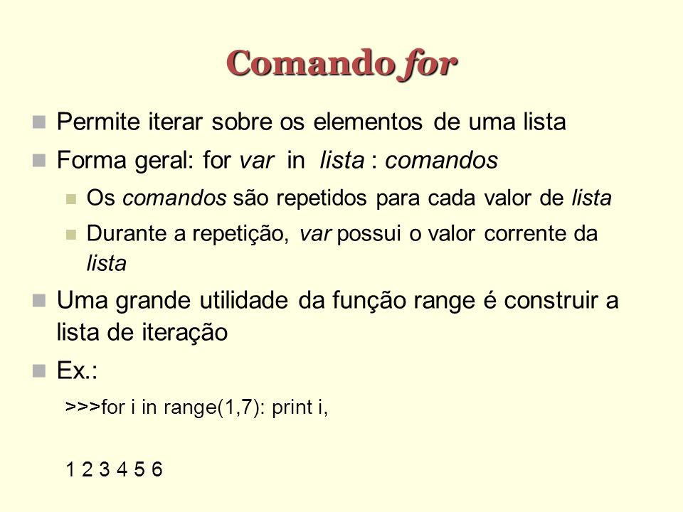 Comando for Permite iterar sobre os elementos de uma lista Forma geral: for var in lista : comandos Os comandos são repetidos para cada valor de lista