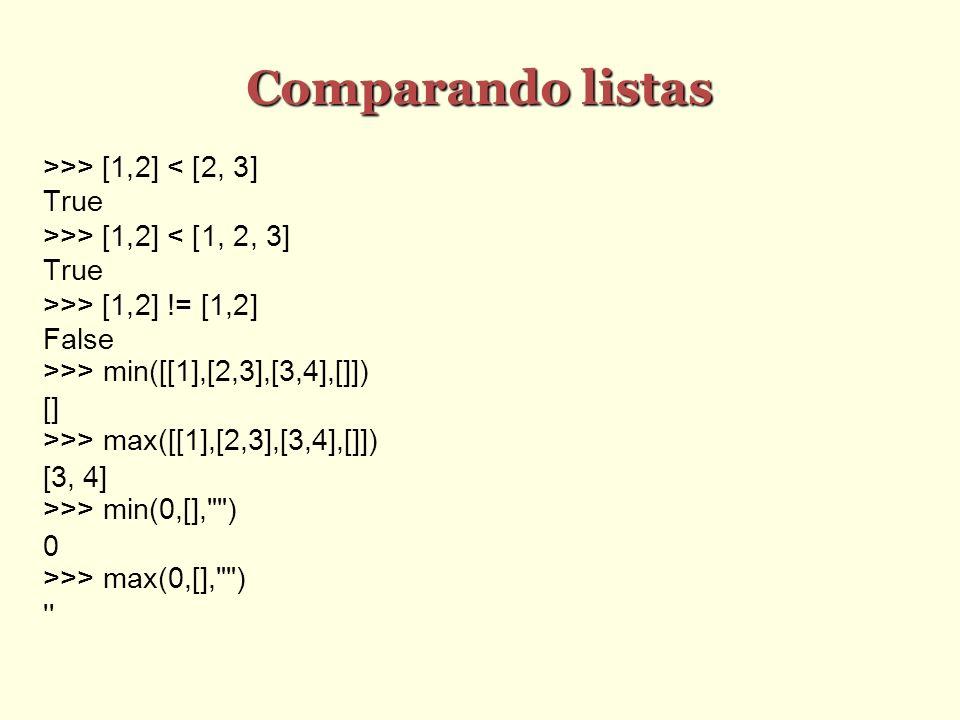 Comparando listas >>> [1,2] < [2, 3] True >>> [1,2] < [1, 2, 3] True >>> [1,2] != [1,2] False >>> min([[1],[2,3],[3,4],[]]) [] >>> max([[1],[2,3],[3,4