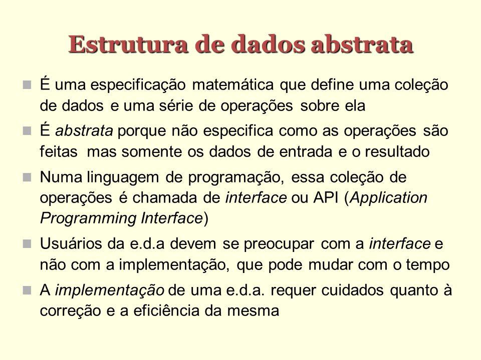 Estrutura de dados abstrata É uma especificação matemática que define uma coleção de dados e uma série de operações sobre ela É abstrata porque não es