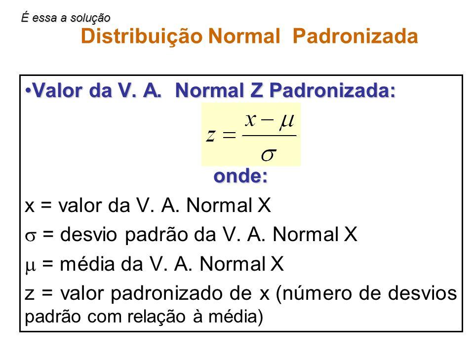 Distribuição Normal Padronizada Valor da V. A. Normal Z Padronizada:Valor da V. A. Normal Z Padronizada:onde: x = valor da V. A. Normal X = desvio pad