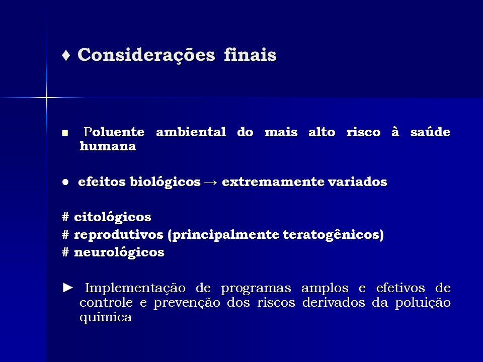 Considerações finais Considerações finais P oluente ambiental do mais alto risco à saúde humana P oluente ambiental do mais alto risco à saúde humana