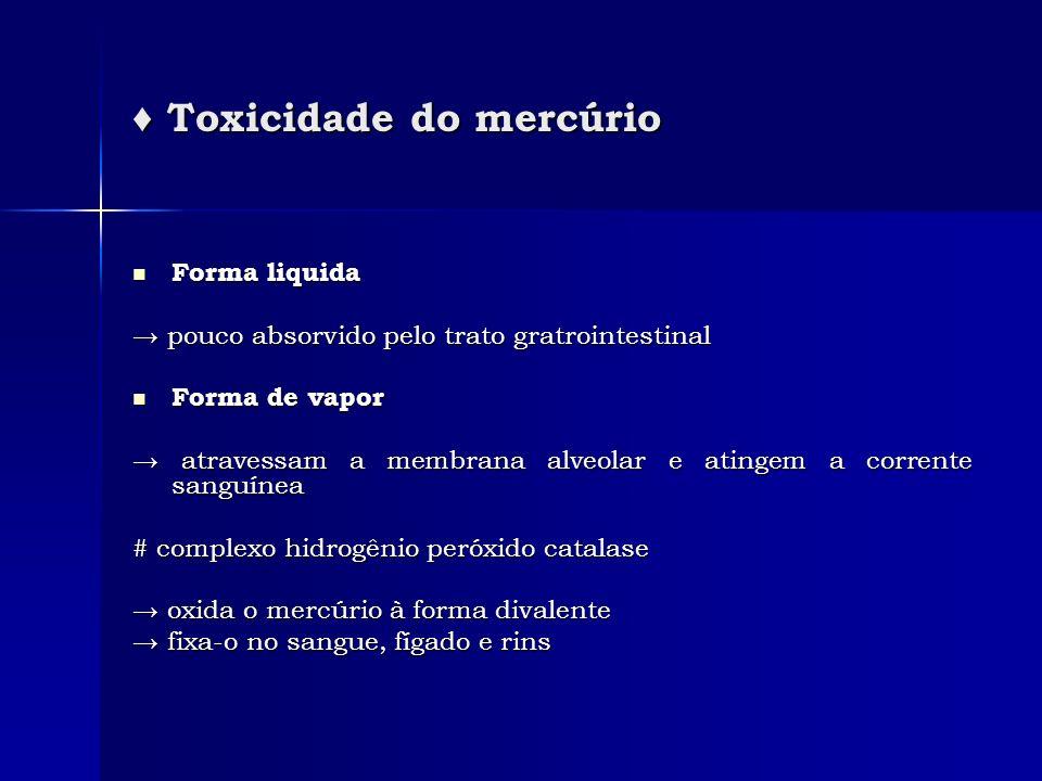 Toxicidade do mercúrio Toxicidade do mercúrio Forma liquida Forma liquida pouco absorvido pelo trato gratrointestinal pouco absorvido pelo trato gratr