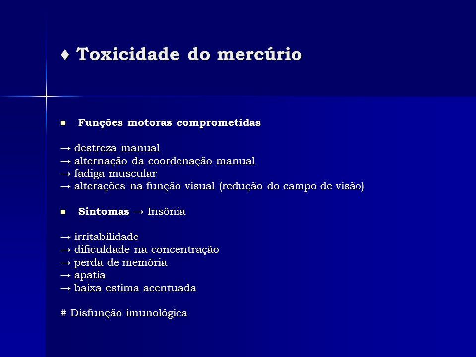 Toxicidade do mercúrio Toxicidade do mercúrio Funções motoras comprometidas Funções motoras comprometidas destreza manual destreza manual alternação d