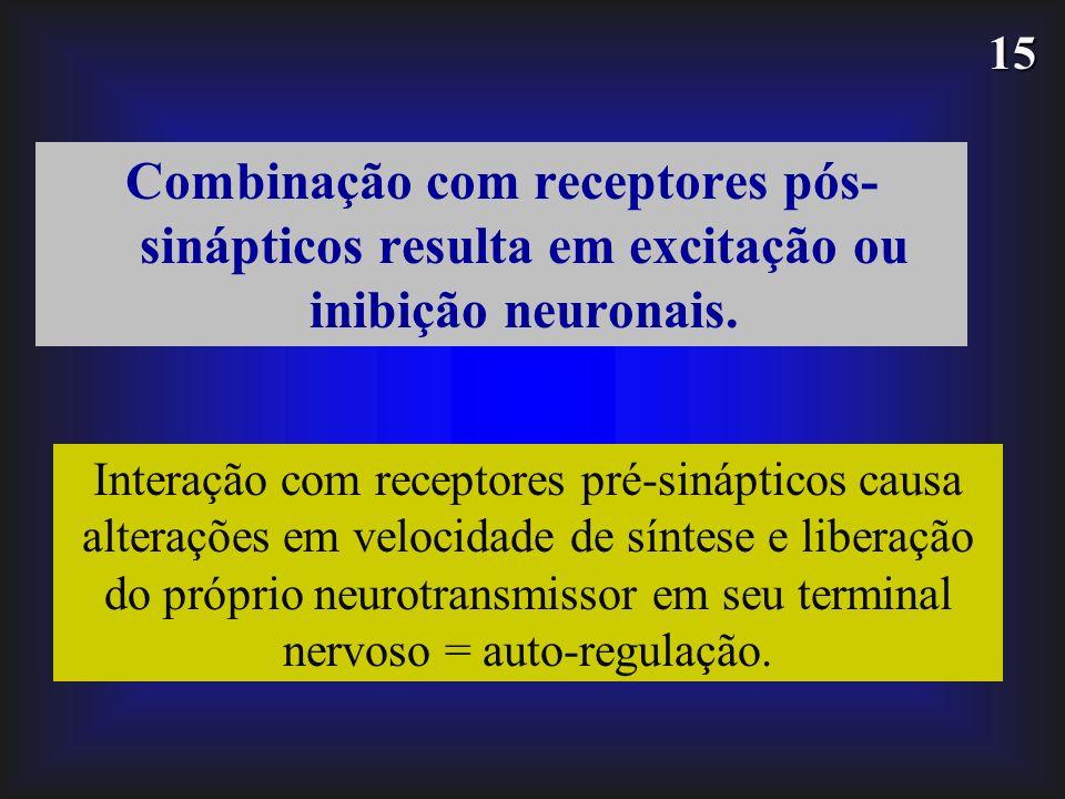 15 Combinação com receptores pós- sinápticos resulta em excitação ou inibição neuronais. Interação com receptores pré-sinápticos causa alterações em v