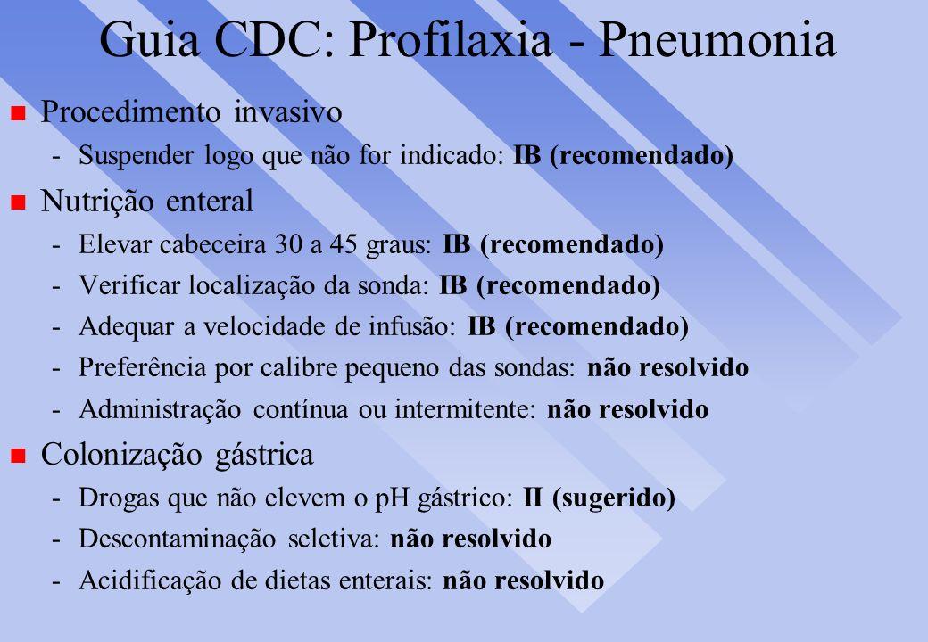 Guia CDC: Profilaxia - Pneumonia n Procedimento invasivo -Suspender logo que não for indicado: IB (recomendado) n Nutrição enteral -Elevar cabeceira 3