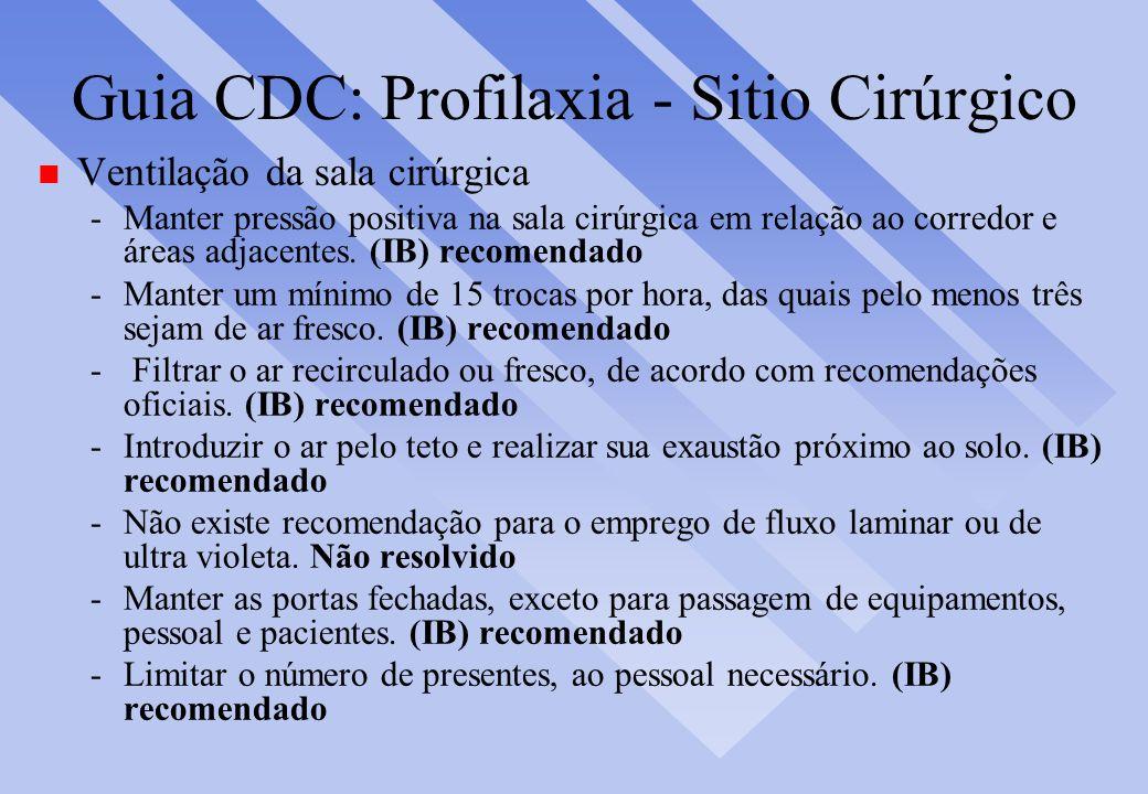 Guia CDC: Profilaxia - Sitio Cirúrgico n Ventilação da sala cirúrgica -Manter pressão positiva na sala cirúrgica em relação ao corredor e áreas adjace