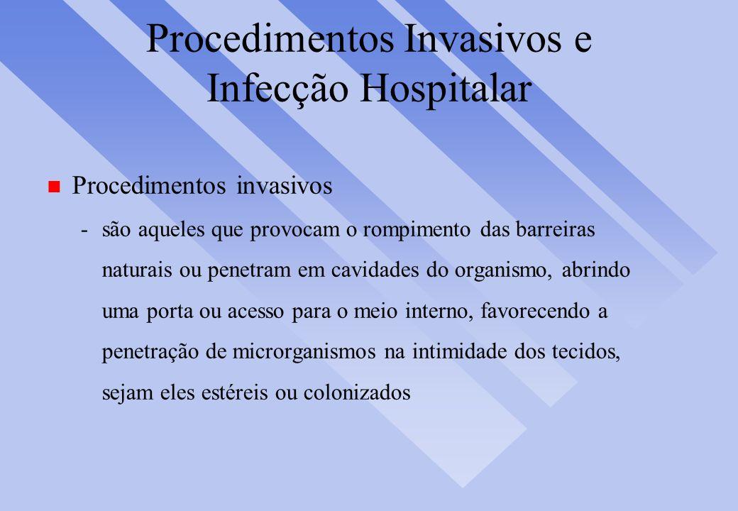 Procedimentos Invasivos e Infecção Hospitalar n Procedimentos invasivos -são aqueles que provocam o rompimento das barreiras naturais ou penetram em c