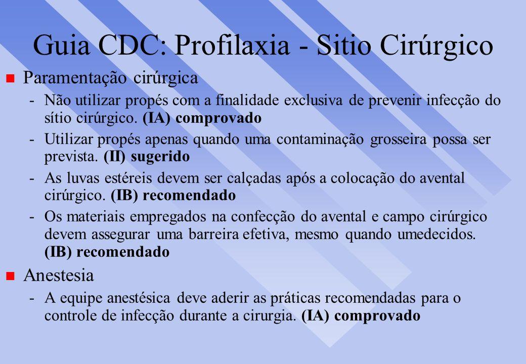 Guia CDC: Profilaxia - Sitio Cirúrgico n Paramentação cirúrgica -Não utilizar propés com a finalidade exclusiva de prevenir infecção do sítio cirúrgic