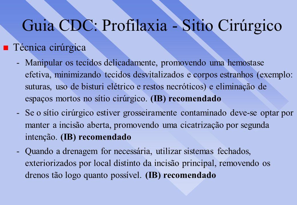 Guia CDC: Profilaxia - Sitio Cirúrgico n Técnica cirúrgica -Manipular os tecidos delicadamente, promovendo uma hemostase efetiva, minimizando tecidos