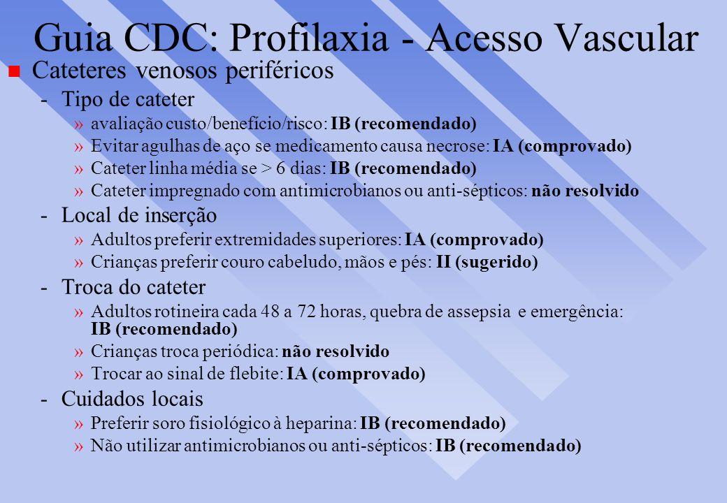Guia CDC: Profilaxia - Acesso Vascular n Cateteres venosos periféricos -Tipo de cateter »avaliação custo/benefício/risco: IB (recomendado) »Evitar agu