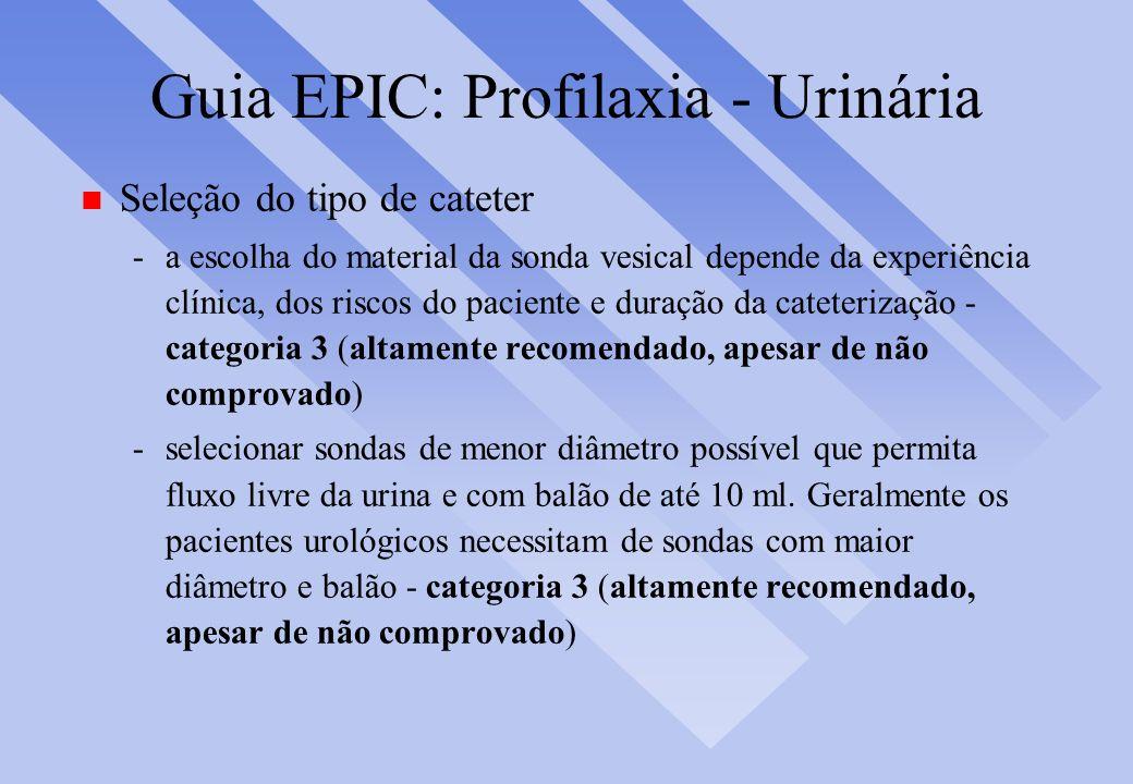 Guia EPIC: Profilaxia - Urinária n Seleção do tipo de cateter -a escolha do material da sonda vesical depende da experiência clínica, dos riscos do pa