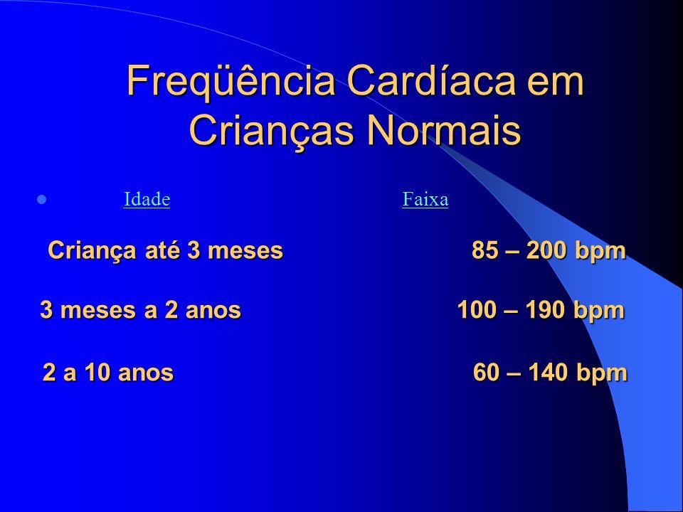 Freqüência Cardíaca em Crianças Normais Idade Faixa Criança até 3 meses 85 – 200 bpm Criança até 3 meses 85 – 200 bpm 3 meses a 2 anos 100 – 190 bpm 2