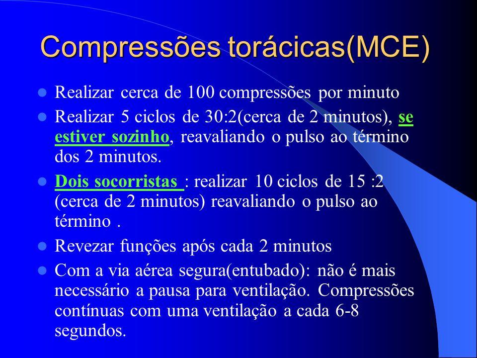 Compressões torácicas(MCE) Realizar cerca de 100 compressões por minuto Realizar 5 ciclos de 30:2(cerca de 2 minutos), se estiver sozinho, reavaliando
