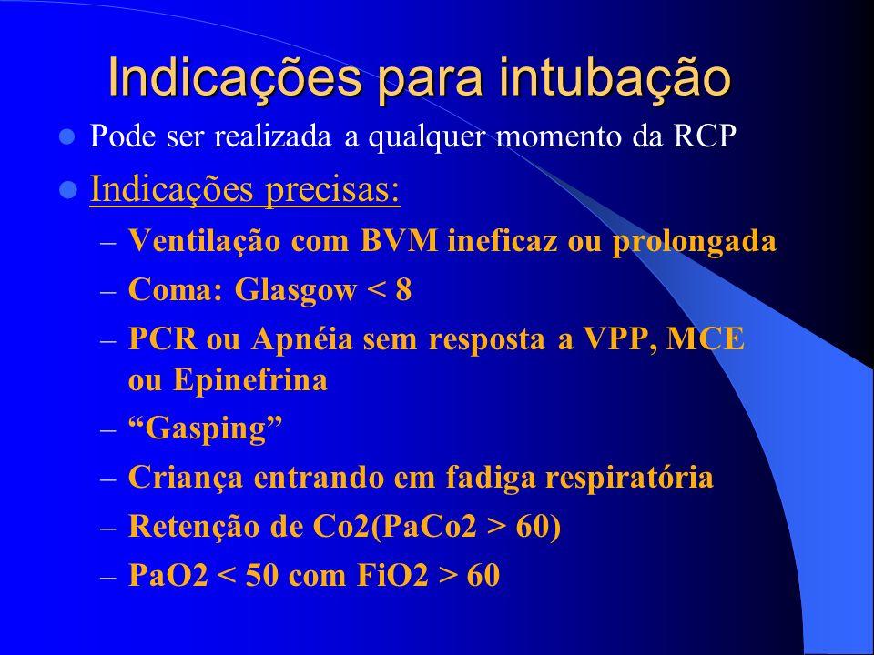 Indicações para intubação Pode ser realizada a qualquer momento da RCP Indicações precisas: – Ventilação com BVM ineficaz ou prolongada – Coma: Glasgo