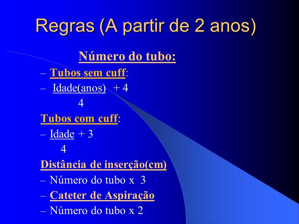 Regras (A partir de 2 anos) Número do tubo: – Tubos sem cuff: – Idade(anos) + 4 4 Tubos com cuff: – Idade + 3 4 Distância de inserção(cm) – Número do