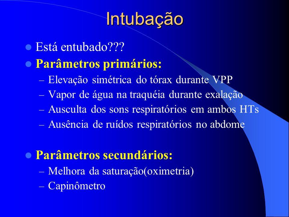 Intubação Está entubado??? Parâmetros primários: – Elevação simétrica do tórax durante VPP – Vapor de água na traquéia durante exalação – Ausculta dos