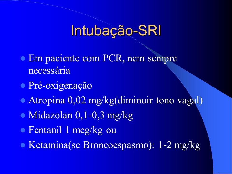 Intubação-SRI Em paciente com PCR, nem sempre necessária Pré-oxigenação Atropina 0,02 mg/kg(diminuir tono vagal) Midazolan 0,1-0,3 mg/kg Fentanil 1 mc