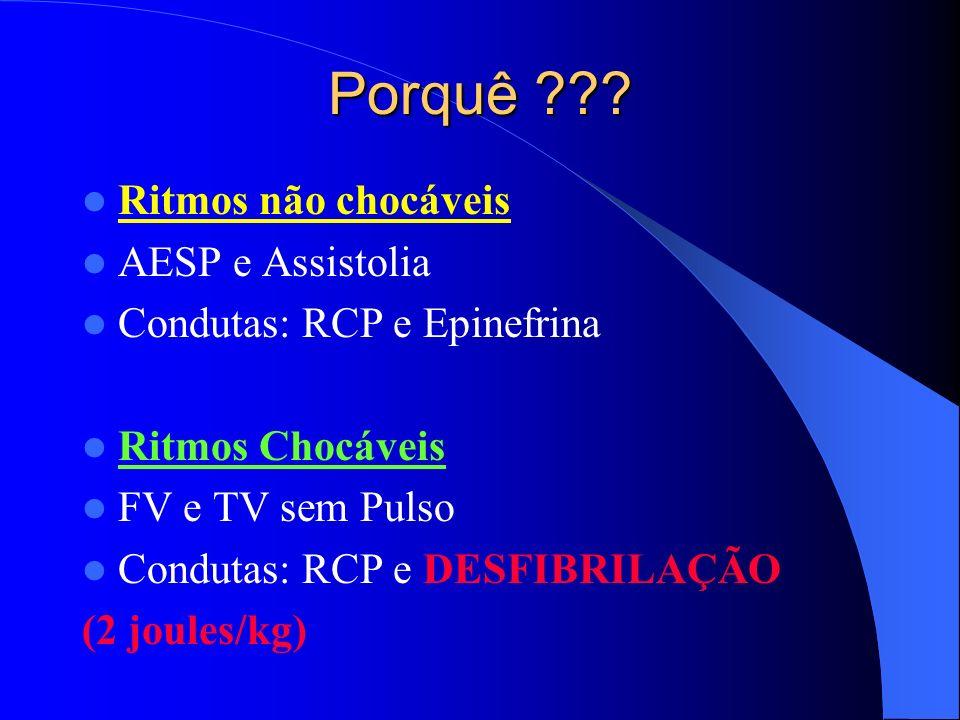 Porquê ??? Ritmos não chocáveis AESP e Assistolia Condutas: RCP e Epinefrina Ritmos Chocáveis FV e TV sem Pulso Condutas: RCP e DESFIBRILAÇÃO (2 joule