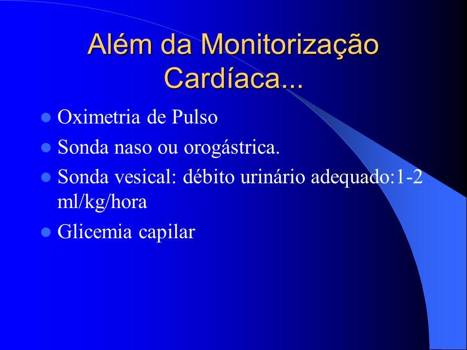 Além da Monitorização Cardíaca... Oximetria de Pulso Sonda naso ou orogástrica. Sonda vesical: débito urinário adequado:1-2 ml/kg/hora Glicemia capila