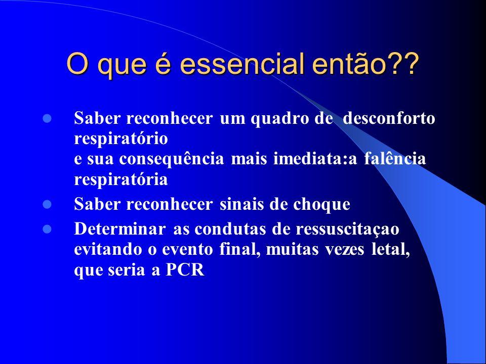 O que é essencial então?? Saber reconhecer um quadro de desconforto respiratório e sua consequência mais imediata:a falência respiratória Saber reconh