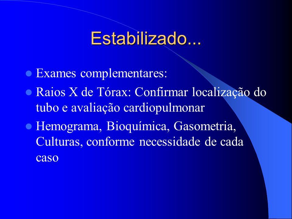 Estabilizado... Exames complementares: Raios X de Tórax: Confirmar localização do tubo e avaliação cardiopulmonar Hemograma, Bioquímica, Gasometria, C