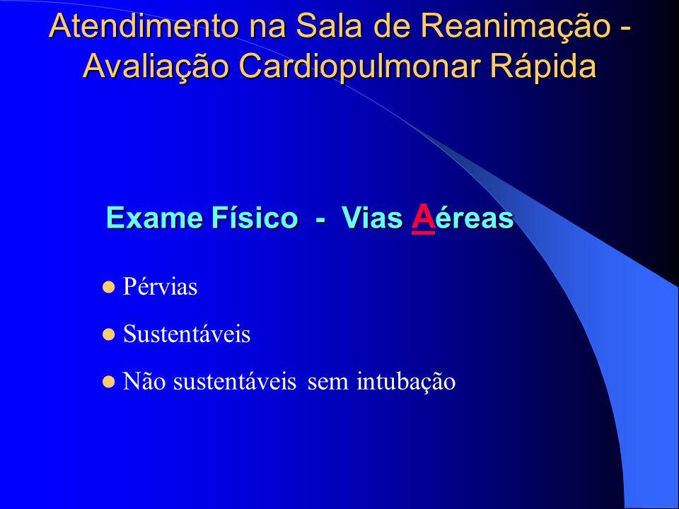 Atendimento na Sala de Reanimação - Avaliação Cardiopulmonar Rápida Pérvias Sustentáveis Não sustentáveis sem intubação Exame Físico - Vias éreas Exam