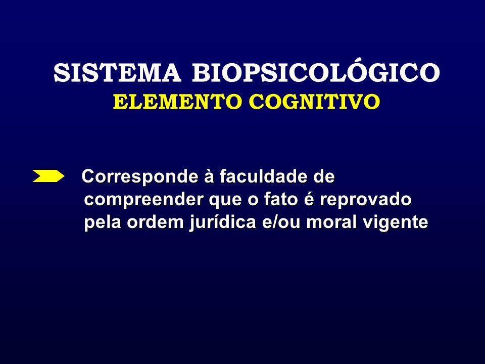 SISTEMA BIOPSICOLÓGICO ELEMENTO COGNITIVO Corresponde à faculdade de compreender que o fato é reprovado pela ordem jurídica e/ou moral vigente Corresp