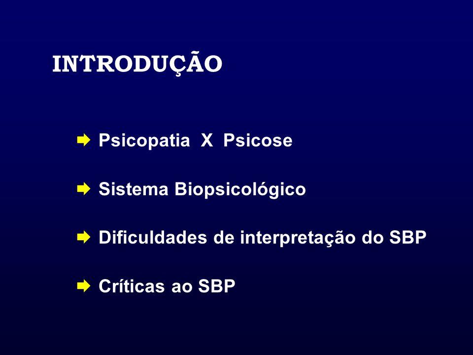 INTRODUÇÃO Psicopatia X Psicose Sistema Biopsicológico Dificuldades de interpretação do SBP Críticas ao SBP