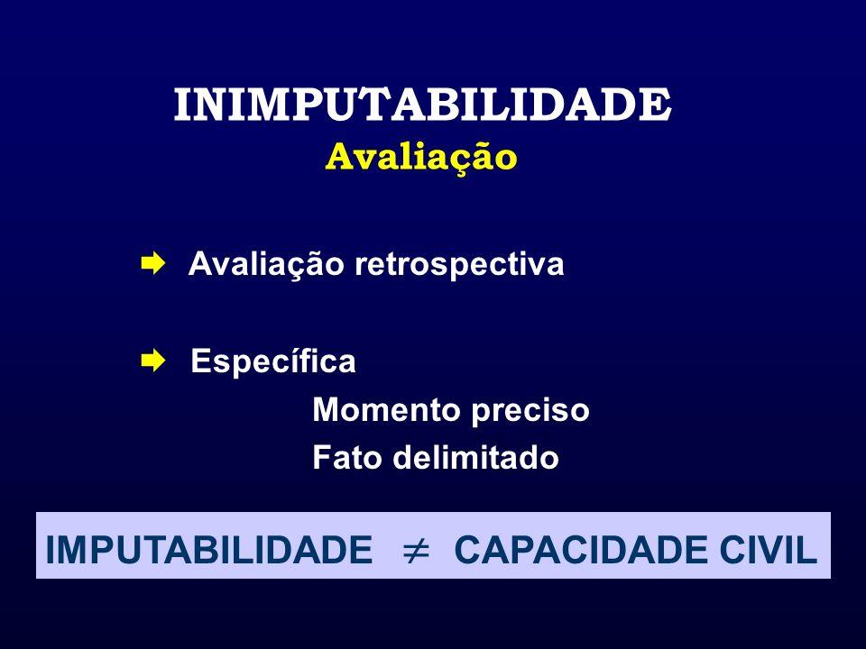 INIMPUTABILIDADE Avaliação Avaliação retrospectiva Específica Momento preciso Fato delimitado IMPUTABILIDADE CAPACIDADE CIVIL
