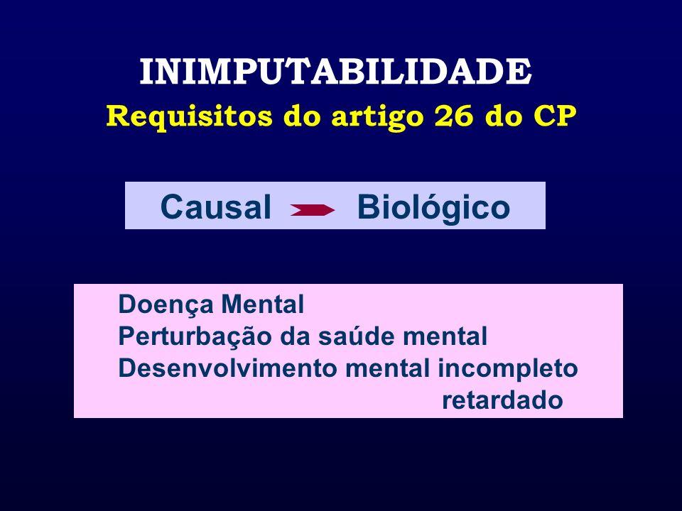 INIMPUTABILIDADE Requisitos do artigo 26 do CP Doença Mental Perturbação da saúde mental Desenvolvimento mental incompleto retardado Causal Biológico