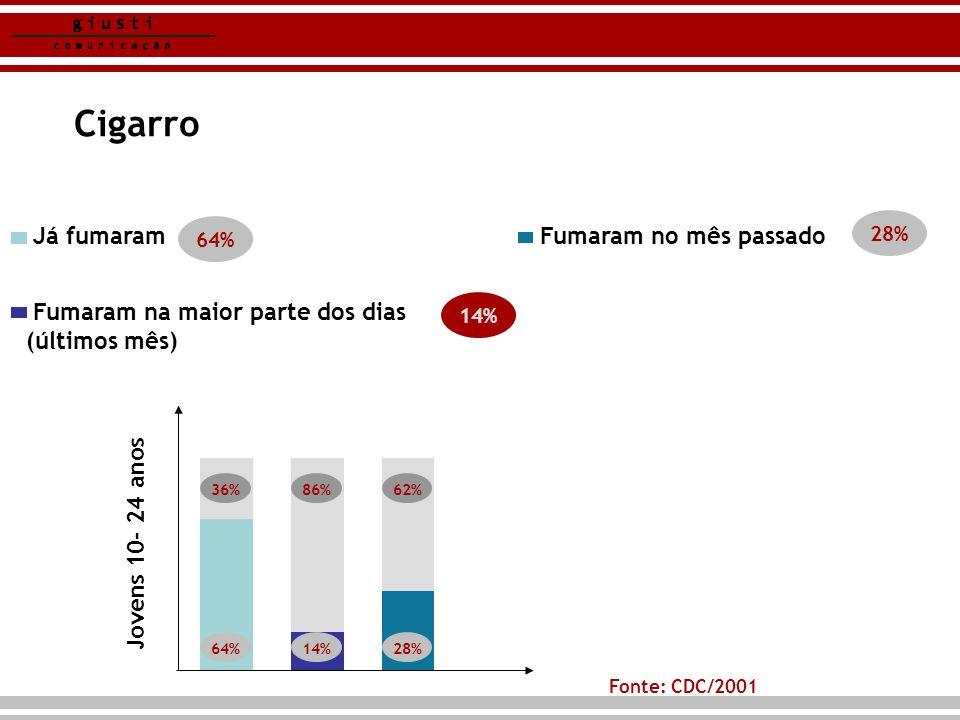 Cigarro 14% Fonte: CDC/2001 Fumaram na maior parte dos dias (últimos mês) Já fumaram Fumaram no mês passado 64% 14% 28% 64% 36%86% 14% 62% 28% Jovens