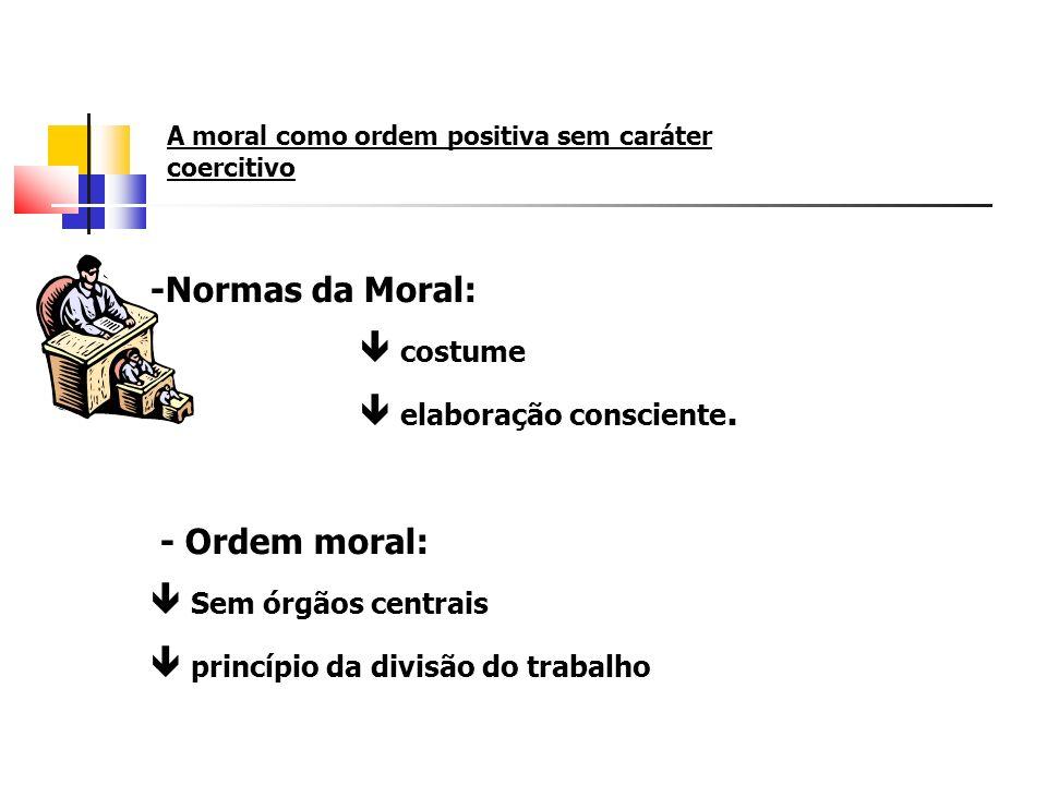 A moral como ordem positiva sem caráter coercitivo -Normas da Moral: costume elaboração consciente. - Ordem moral: Sem órgãos centrais princípio da di