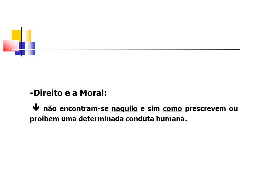 -Direito e a Moral: não encontram-se naquilo e sim como prescrevem ou proíbem uma determinada conduta humana.