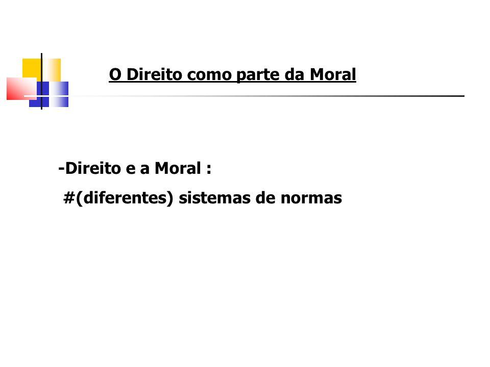 O Direito como parte da Moral -Direito e a Moral : #(diferentes) sistemas de normas