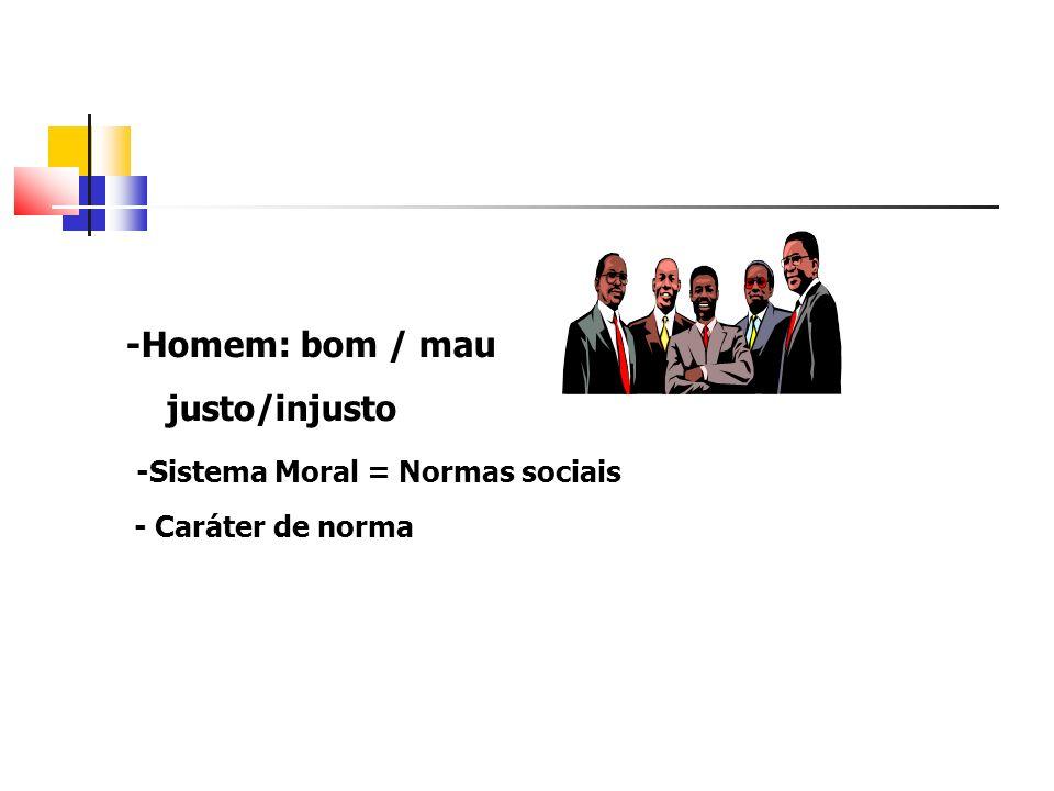 -Homem: bom / mau justo/injusto -Sistema Moral = Normas sociais - Caráter de norma