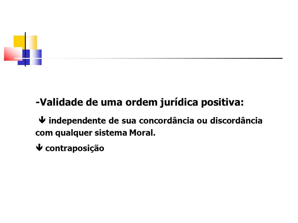 -Validade de uma ordem jurídica positiva: independente de sua concordância ou discordância com qualquer sistema Moral. contraposição