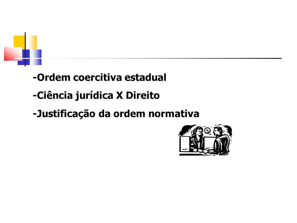 -Ordem coercitiva estadual -Ciência jurídica X Direito -Justificação da ordem normativa
