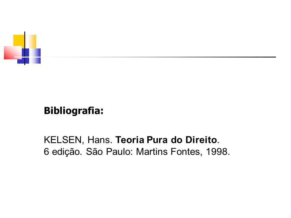 Bibliografia: KELSEN, Hans. Teoria Pura do Direito. 6 edição. São Paulo: Martins Fontes, 1998.