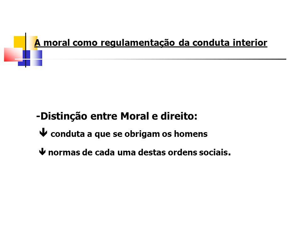A moral como regulamentação da conduta interior -Distinção entre Moral e direito: conduta a que se obrigam os homens normas de cada uma destas ordens