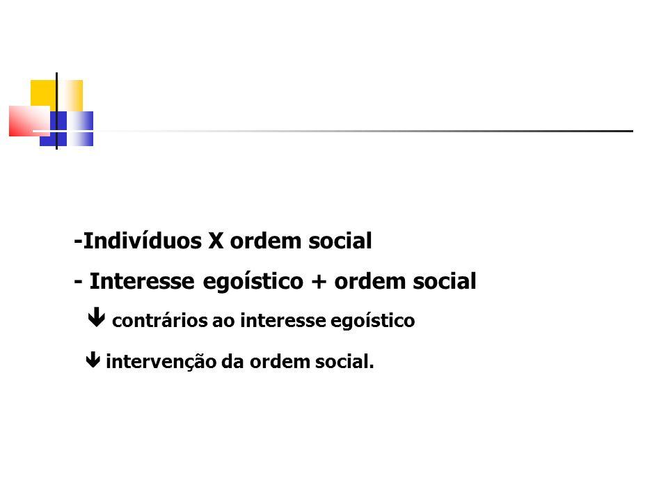 -Indivíduos X ordem social - Interesse egoístico + ordem social contrários ao interesse egoístico intervenção da ordem social.