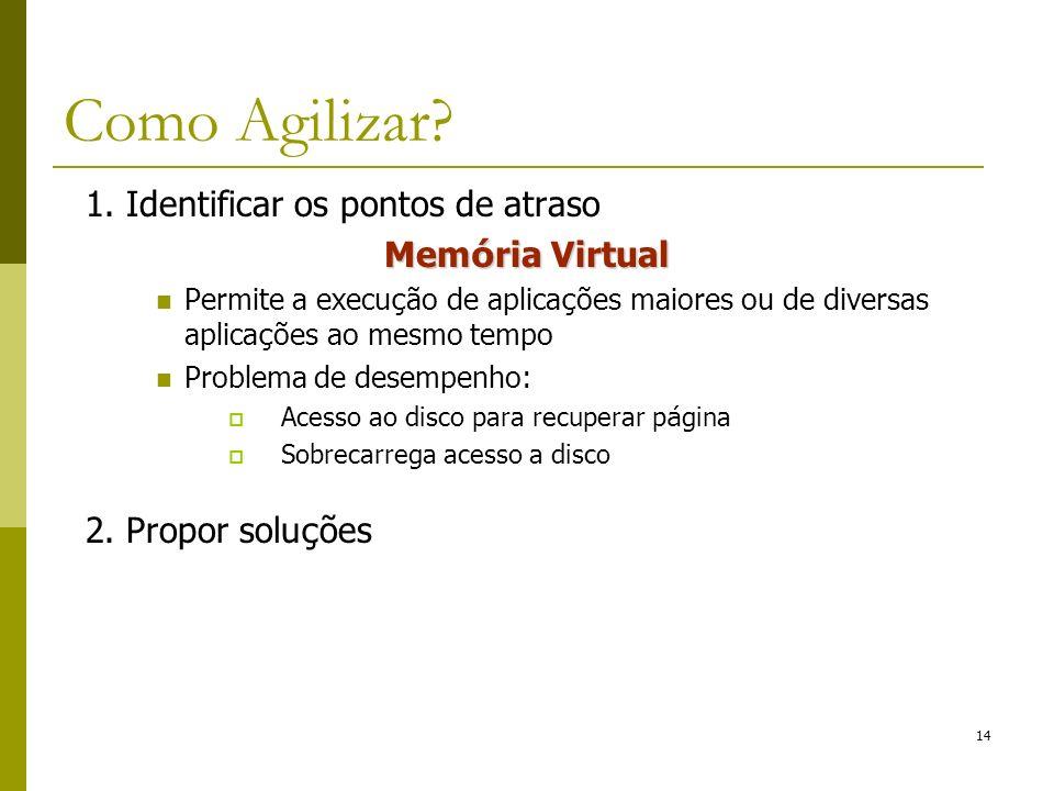 1. Identificar os pontos de atraso Mem ó ria Virtual Permite a execu ç ão de aplica ç ões maiores ou de diversas aplica ç ões ao mesmo tempo Problema