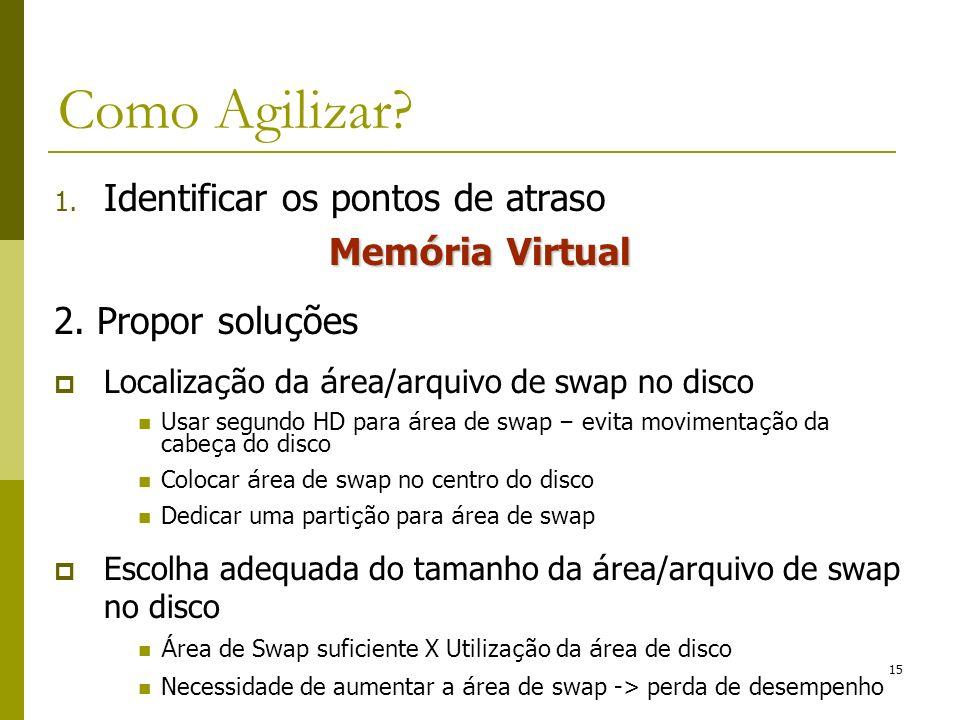1. Identificar os pontos de atraso Mem ó ria Virtual 2. Propor solu ç ões Localiza ç ão da á rea/arquivo de swap no disco Usar segundo HD para á rea d