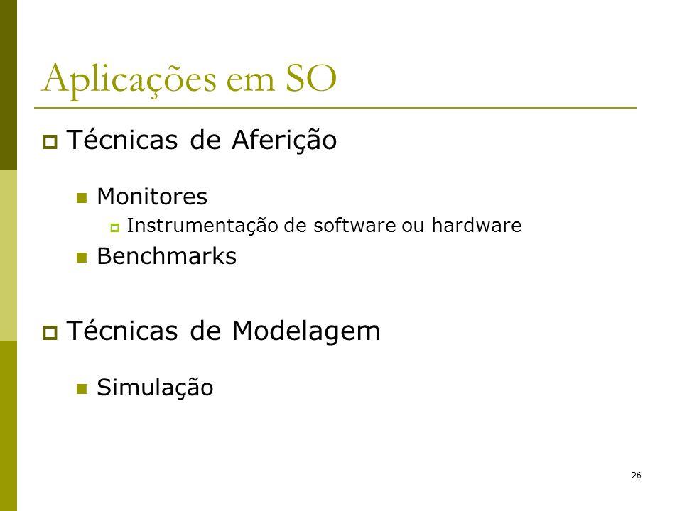 Técnicas de Aferição Monitores Instrumentação de software ou hardware Benchmarks Técnicas de Modelagem Simulação 26 Aplicações em SO