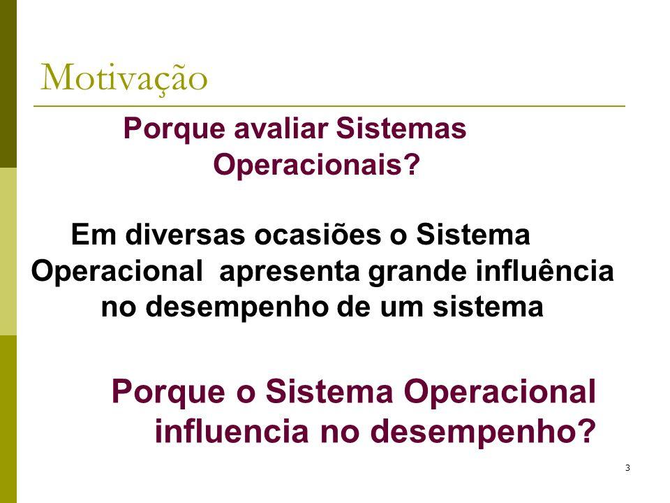 Porque avaliar Sistemas Operacionais? 3 Porque o Sistema Operacional influencia no desempenho? Em diversas ocasiões o Sistema Operacional apresenta gr