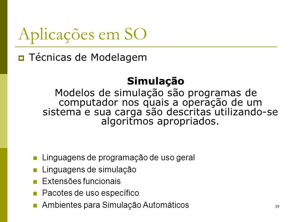 Técnicas de ModelagemSimulação Modelos de simulação são programas de computador nos quais a operação de um sistema e sua carga são descritas utilizand