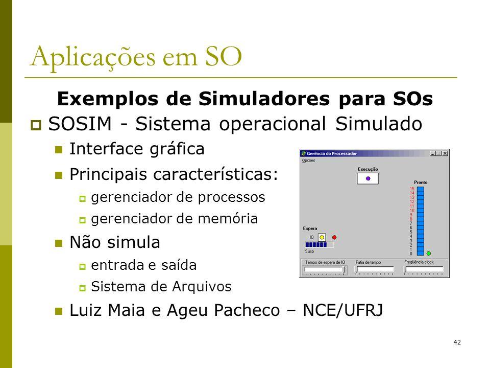Exemplos de Simuladores para SOs SOSIM - Sistema operacional Simulado Interface gráfica Principais características: gerenciador de processos gerenciad