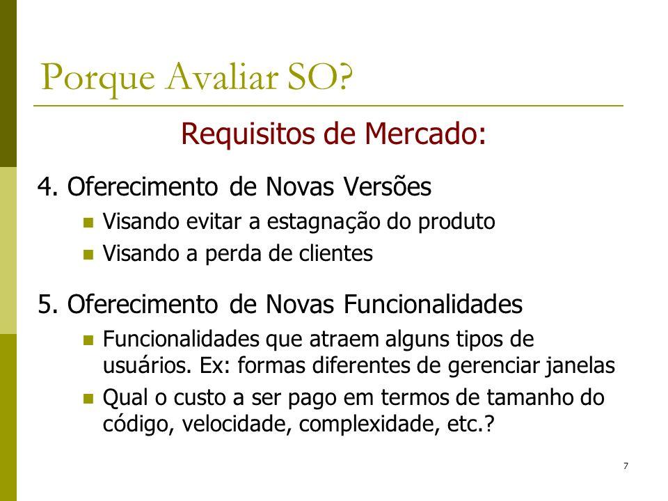Requisitos de Mercado: 4. Oferecimento de Novas Versões Visando evitar a estagna ç ão do produto Visando a perda de clientes 5. Oferecimento de Novas