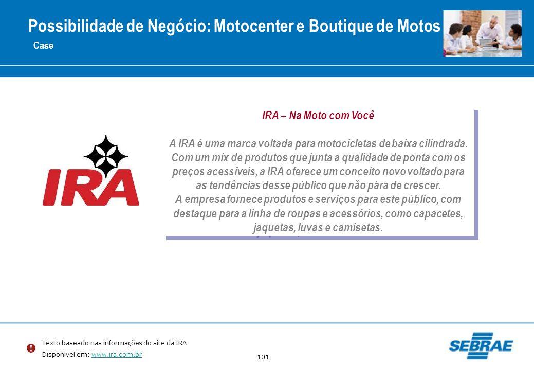 101 Case IRA – Na Moto com Você A IRA é uma marca voltada para motocicletas de baixa cilindrada. Com um mix de produtos que junta a qualidade de ponta